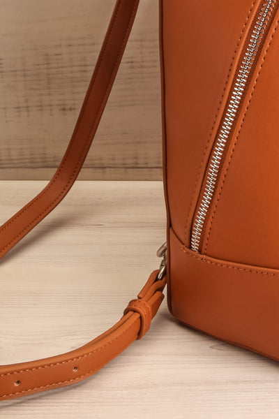 Coran Cognac Pixie Mood Faux-Leather Backpack strap side close-up | La Petite Garçonne