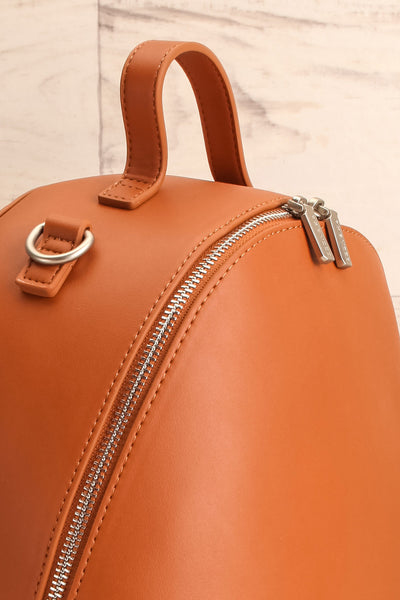 Coran Cognac Pixie Mood Faux-Leather Backpack side close-up | La Petite Garçonne