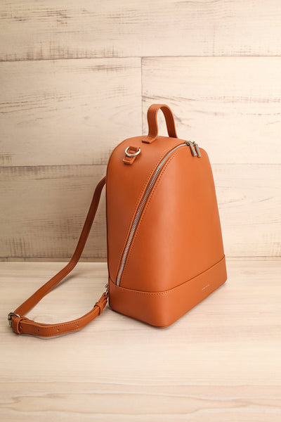 Coran Cognac Pixie Mood Faux-Leather Backpack side view | La Petite Garçonne