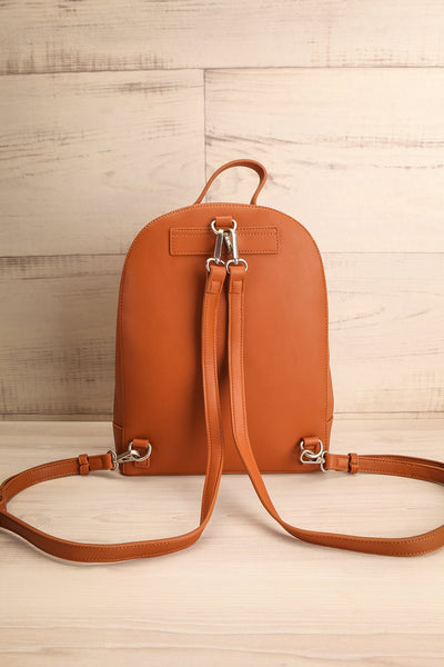 Coran Cognac Pixie Mood Faux-Leather Backpack back view | La Petite Garçonne