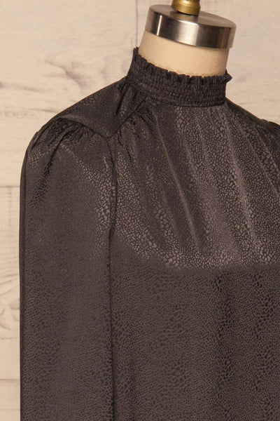 Corenne Dark Grey Satin Blouse | Haut side close up | La Petite Garçonne