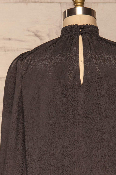 Corenne Dark Grey Satin Blouse | Haut back close up | La Petite Garçonne