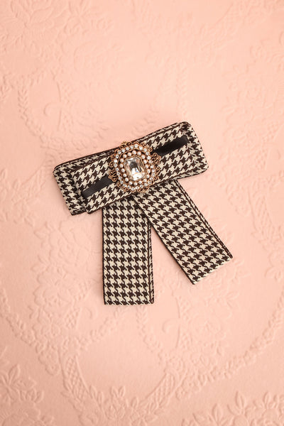 Corola Black & White Ribbon Bow & Crystal Brooch | Boutique 1861 1