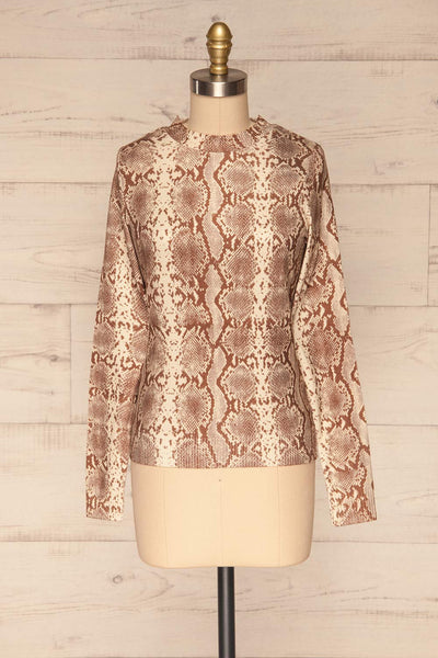 Coswig Brun Brown Snake Pattern Long Sleeved Top | La Petite Garçonne front view