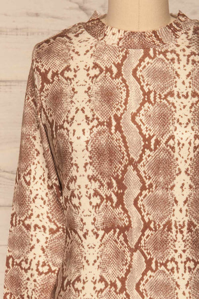 Coswig Brun Brown Snake Pattern Long Sleeved Top | La Petite Garçonne front close-up