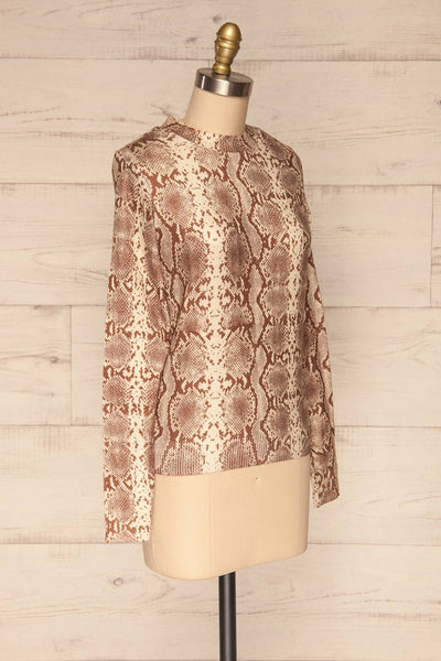 Coswig Brun Brown Snake Pattern Long Sleeved Top | La Petite Garçonne side view