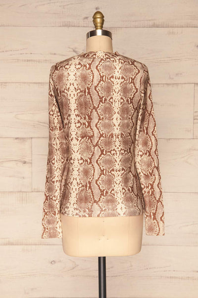 Coswig Brun Brown Snake Pattern Long Sleeved Top | La Petite Garçonne back view