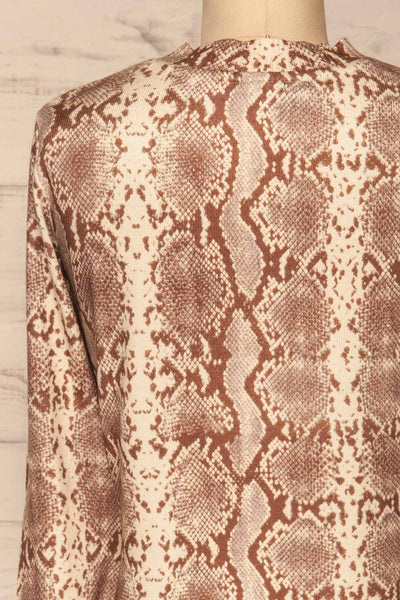Coswig Brun Brown Snake Pattern Long Sleeved Top | La Petite Garçonne back close-up