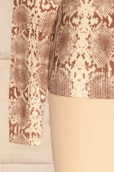 Coswig Brun Brown Snake Pattern Long Sleeved Top | La Petite Garçonne bottom close-up