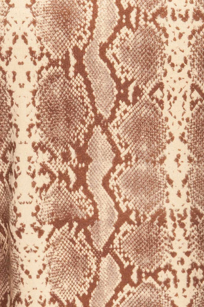 Coswig Brun Brown Snake Pattern Long Sleeved Top | La Petite Garçonne fabric detail