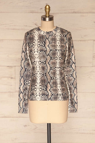 Coswig Noir Black Snake Pattern Long Sleeved Top | La Petite Garçonne front view