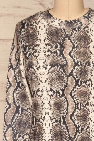 Coswig Noir Black Snake Pattern Long Sleeved Top | La Petite Garçonne front close-up