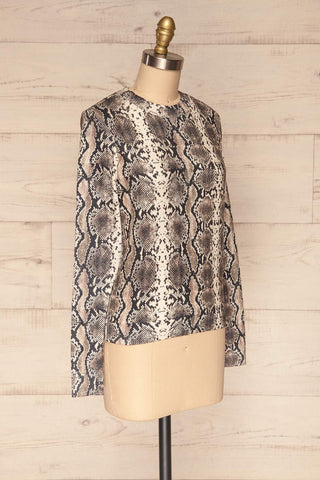 Coswig Noir Black Snake Pattern Long Sleeved Top | La Petite Garçonne side view