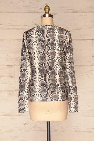 Coswig Noir Black Snake Pattern Long Sleeved Top | La Petite Garçonne back view