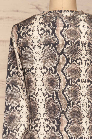 Coswig Noir Black Snake Pattern Long Sleeved Top | La Petite Garçonne back close-up