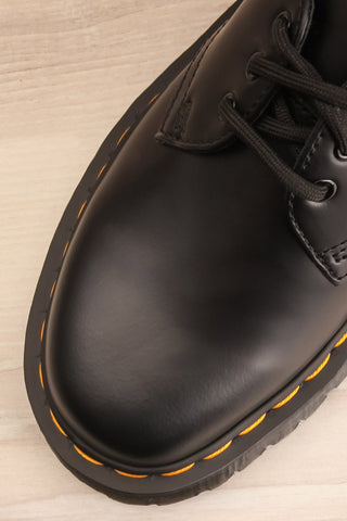 Crawley Leather Black Dr. Martens Shoes flat lay close-up | La Petite Garçonne