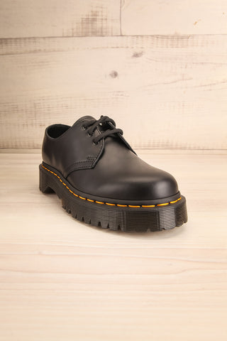 Crawley Leather Black Dr. Martens Shoes front view | La Petite Garçonne