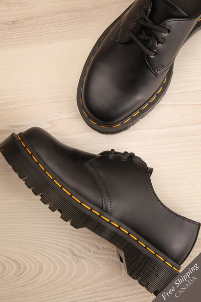 Crawley Leather Black Dr. Martens Shoes flat lay | La Petite Garçonne