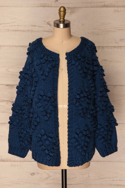 Cunski Oversized Dark Blue Knit Open Jacket | La Petite Garçonne 1