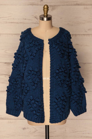 Cunski Oversized Dark Blue Knit Open Jacket | La Petite Garçonne