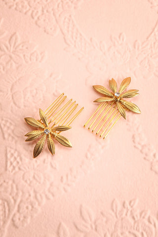 Cybela Gold Hair Combs Set with Leaves | Boudoir 1861