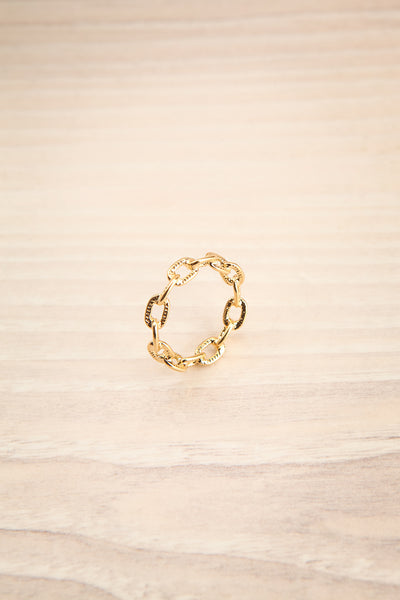 Czaplinek Or Fine Chain Links Textured Ring | La Petite Garçonne