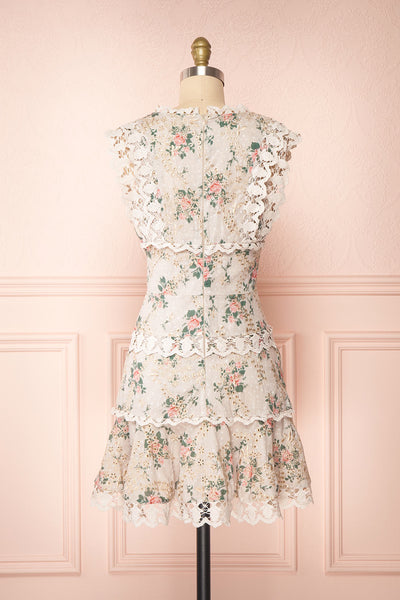 Daneel White Floral Sleeveless Layered Dress | Boutique 1861 back view