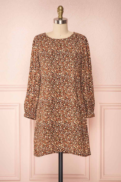 Danette Floral Pattern Long Sleeved Shift Dress | Boutique 1861 front view