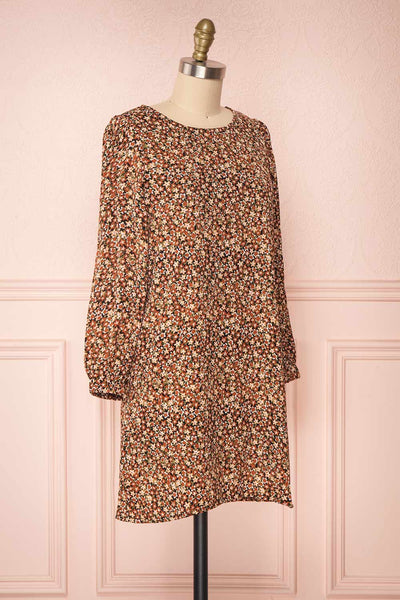 Danette Floral Pattern Long Sleeved Shift Dress | Boutique 1861 side view