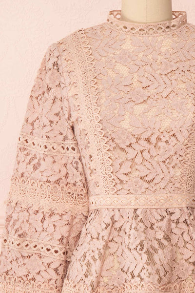 Danicha Dusty Pink Long Sleeved Lace Blouse | Boutique 1861 front close-up