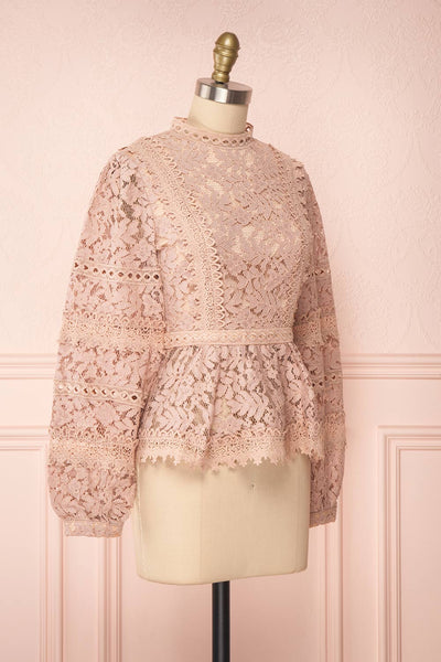 Danicha Dusty Pink Long Sleeved Lace Blouse | Boutique 1861 side view