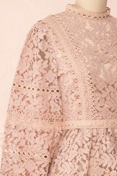 Danicha Dusty Pink Long Sleeved Lace Blouse | Boutique 1861 side close-up