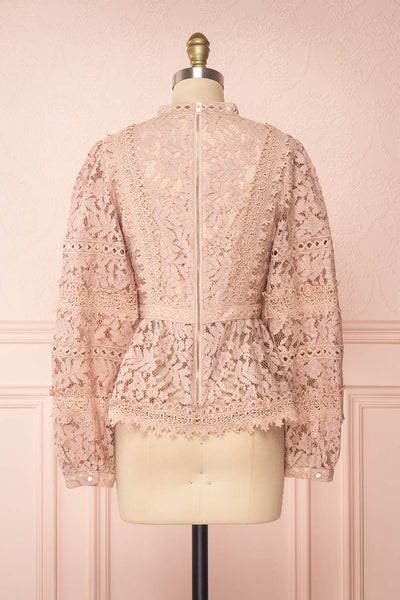 Danicha Dusty Pink Long Sleeved Lace Blouse | Boutique 1861 back view