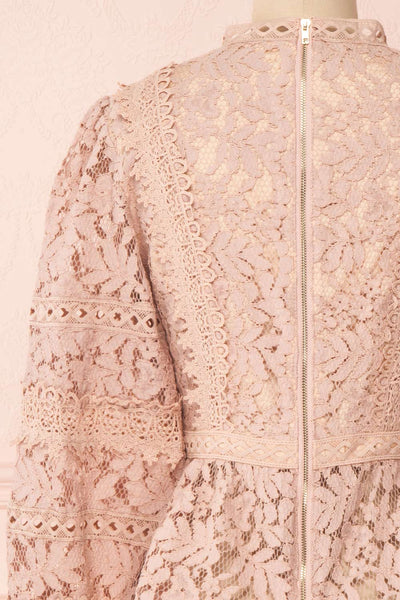 Danicha Dusty Pink Long Sleeved Lace Blouse | Boutique 1861 back close-up