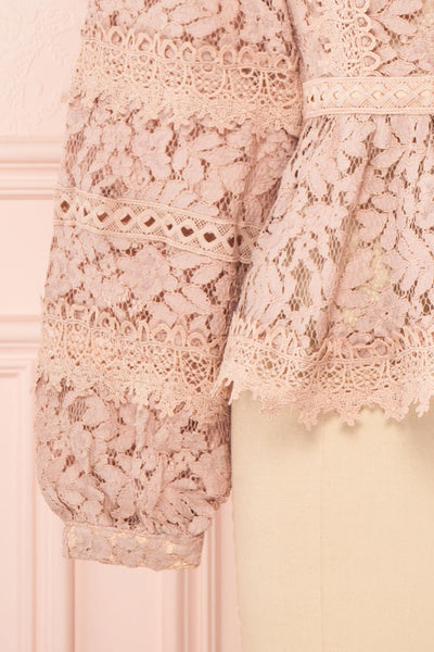 Danicha Dusty Pink Long Sleeved Lace Blouse | Boutique 1861 bottom close-up
