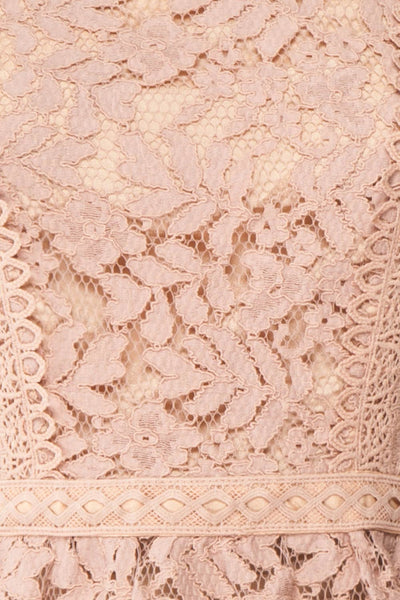 Danicha Dusty Pink Long Sleeved Lace Blouse | Boutique 1861 fabric detail