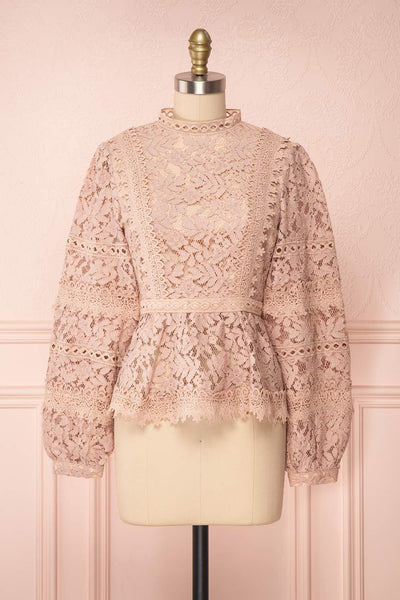 Danicha Dusty Pink Long Sleeved Lace Blouse | Boutique 1861