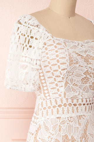 Daphnee Ivoire White Lace Fitted Cocktail Dress side close-up | Boutique 1861 side close-up