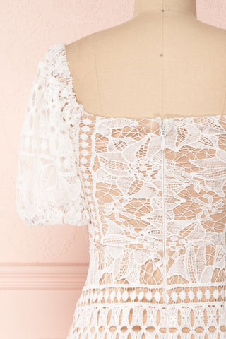 Daphnee Ivoire White Lace Fitted Cocktail Dress back close-up | Boutique 1861 back close-up