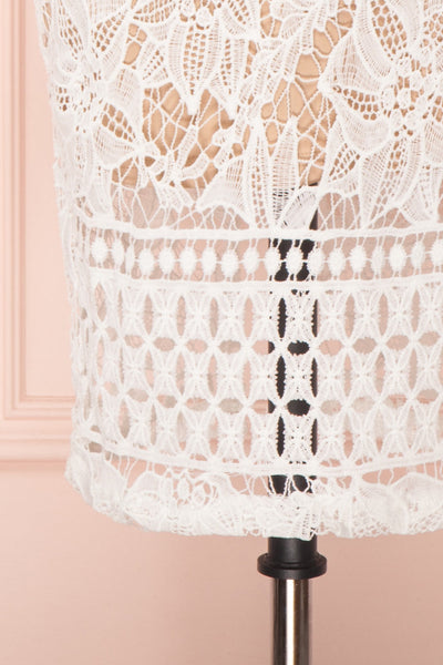 Daphnee Ivoire White Lace Fitted Cocktail Dress bottom close-up | Boutique 1861 bottom close-up