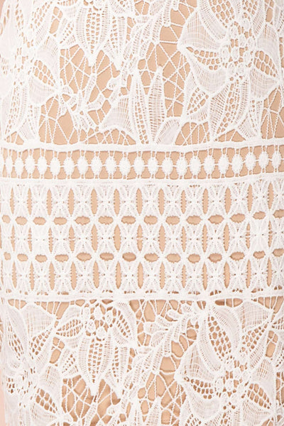 Daphnee Ivoire White Lace Fitted Cocktail Dress fabric detail | Boutique 1861 fabric detail