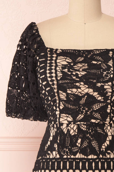 Daphnee Noir Black Lace Fitted Cocktail Dress | Boutique 1861 front close-up