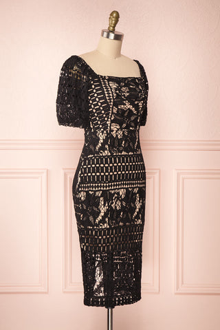 Daphnee Noir Black Lace Fitted Cocktail Dress | Boutique 1861 side view
