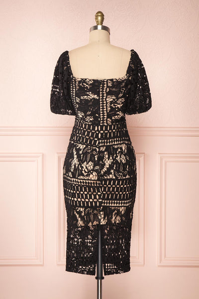 Daphnee Noir Black Lace Fitted Cocktail Dress | Boutique 1861 back view
