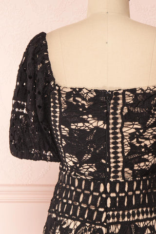 Daphnee Noir Black Lace Fitted Cocktail Dress | Boutique 1861 back close-up