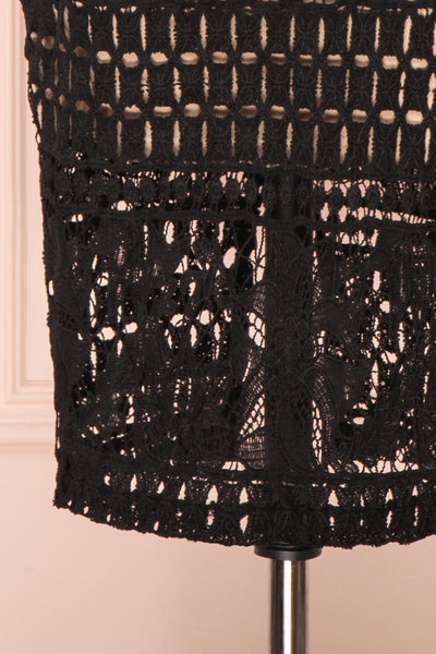 Daphnee Noir Black Lace Fitted Cocktail Dress | Boutique 1861 bottom close-up