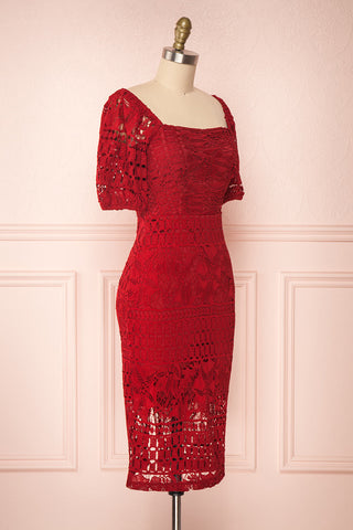 Daphnee Rouge Red Lace Fitted Cocktail Dress | Boutique 1861 side view