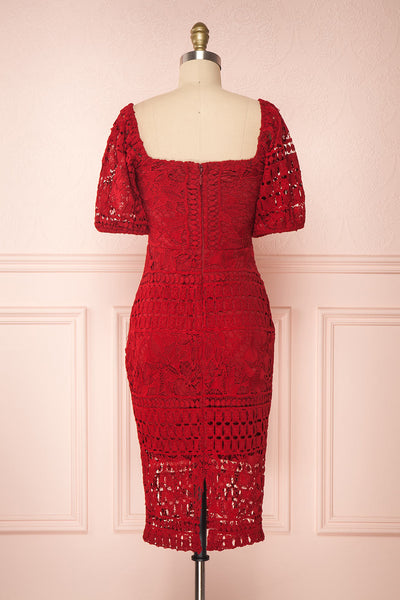 Daphnee Rouge Red Lace Fitted Cocktail Dress | Boutique 1861 back view