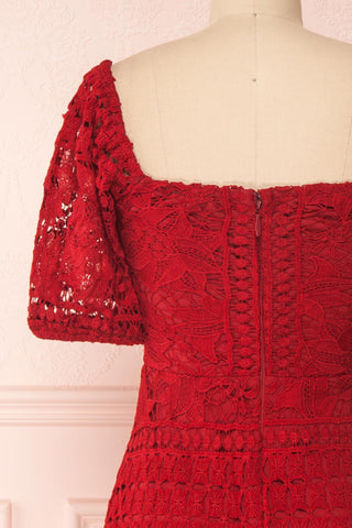 Daphnee Rouge Red Lace Fitted Cocktail Dress | Boutique 1861 back close-up