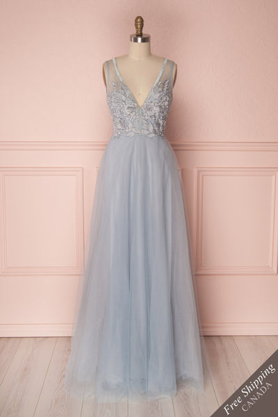 Darli Blue Grey Tulle Maxi Dress with Plunging Neckline | Boudoir 1861